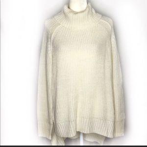 Express Wool Blend Tunic Turtleneck Sweater